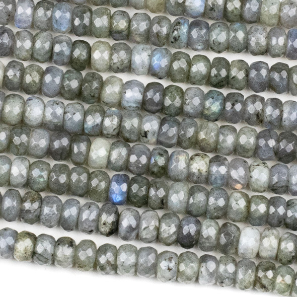 Blue Labradorite 5x8mm Faceted Rondelle Beads - 15.5 inch strand