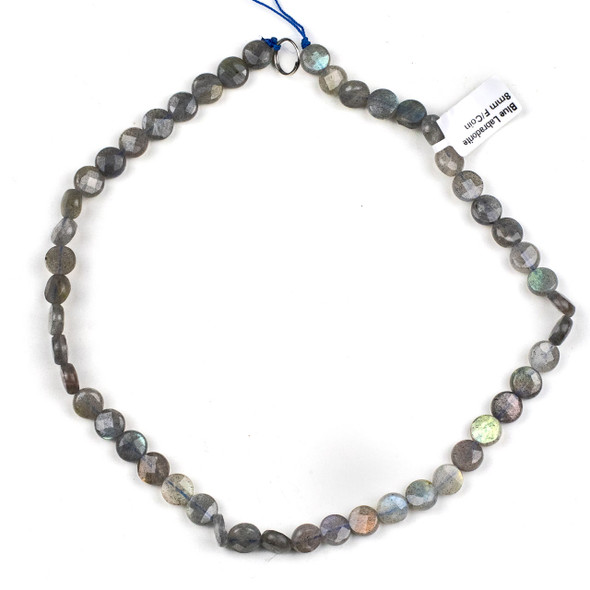 Blue Labradorite 8mm Faceted Coin Beads - 15 inch strand