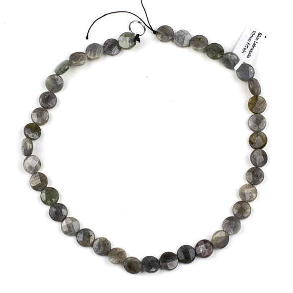 Blue Labradorite 10mm Faceted Coin Beads - 15 inch strand
