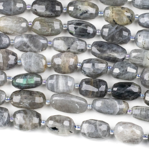 Blue Labradorite 10x18mm Faceted Nugget Beads - 15.5 inch strand