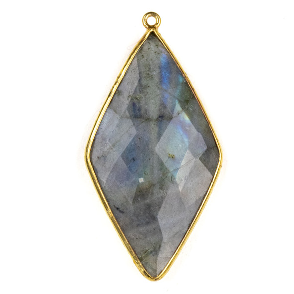 Labradorite approximately 21x44mm Diamond Drop with a Gold Plated Brass Bezel - 1 per bag