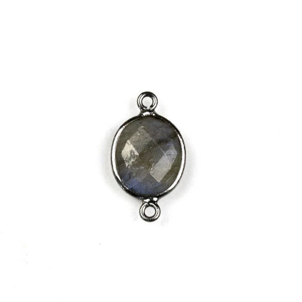 Labradorite approximately 10x19mm Oval Link with a Gun Metal Plated Brass Bezel - 1 per bag