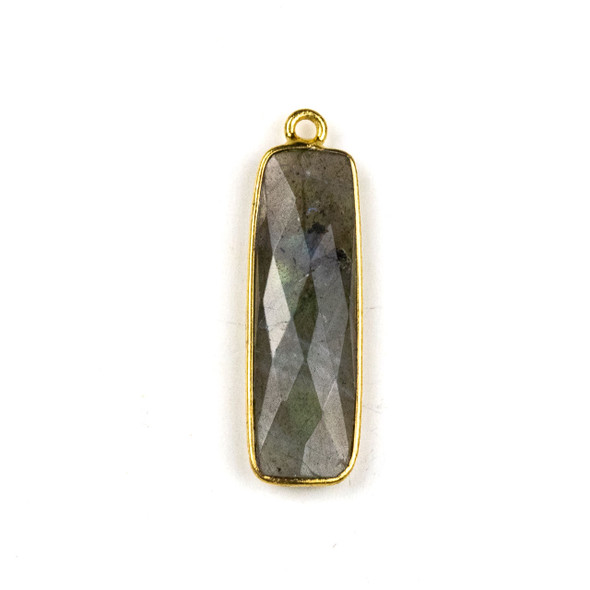 Labradorite approximately 10x30mm Faceted Rectangle Drop with a Gold Plated Brass Bezel - 1 per bag