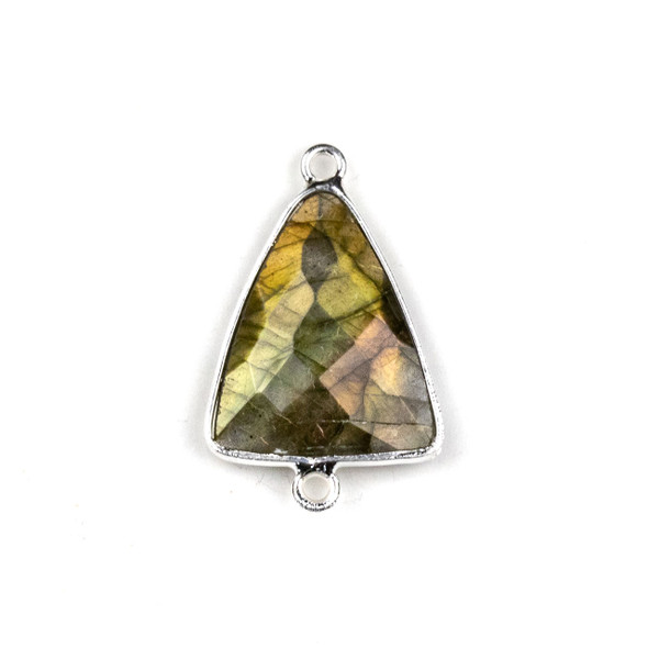 Labradorite approximately 17x28mm Triangle Link with a Silver Plated Brass Bezel - 1 per bag