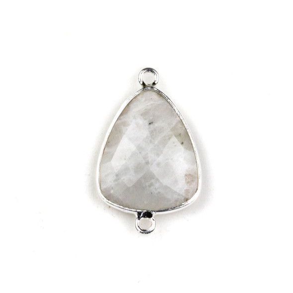 Moonstone approximately 17x28mm Triangle Link with a Silver Plated Brass Bezel - 1 per bag