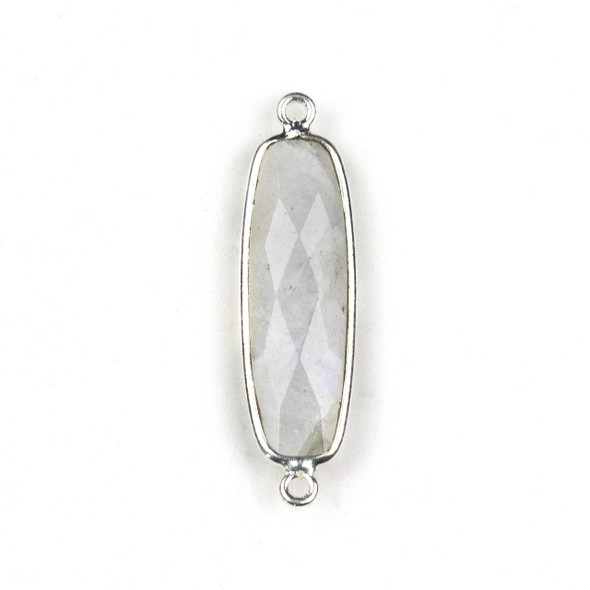 Moonstone approximately 10x34mm Faceted Rectangle Link with a Silver Plated Brass Bezel - 1 per bag