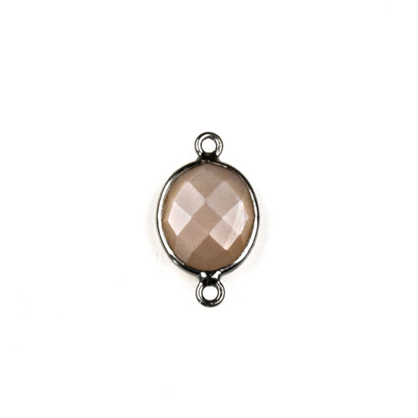 Mystic Moonstone approximately 10x19mm Oval Link with a Gun Metal Plated Brass Bezel - 1 per bag