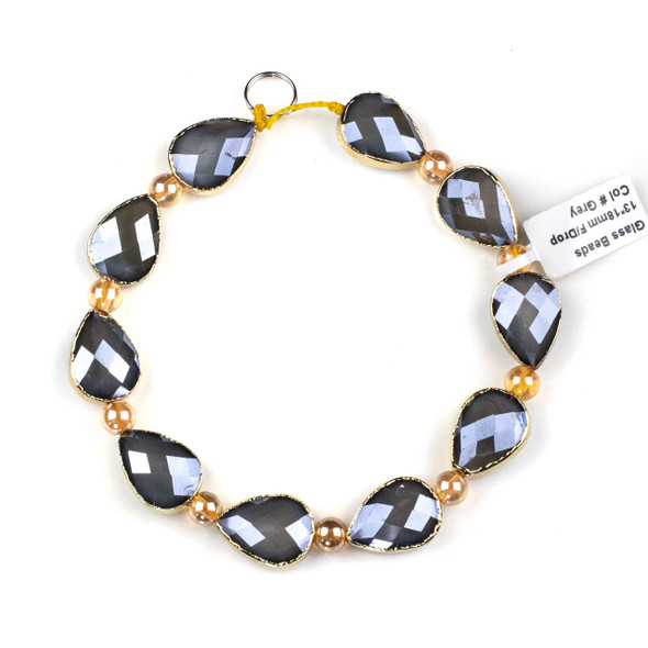 Crystal 13x18mm Opaque Grey Faceted Teardrop Beads with Golden Foil Edges - 9 inch strand