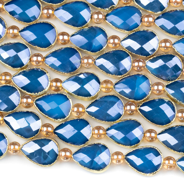 Crystal 13x18mm Opaque Navy Blue Faceted Teardrop Beads with Golden Foil Edges - 9 inch strand