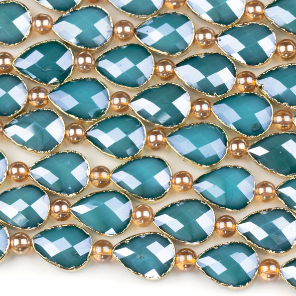Crystal 13x18mm Opaque Blue Faceted Teardrop Beads with Golden Foil Edges - 9 inch strand