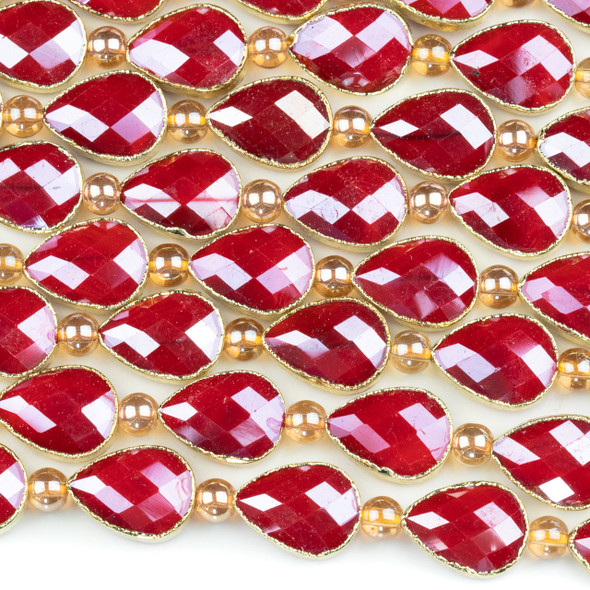Crystal 13x18mm Opaque Red Faceted Teardrop Beads with Golden Foil Edges - 9 inch strand