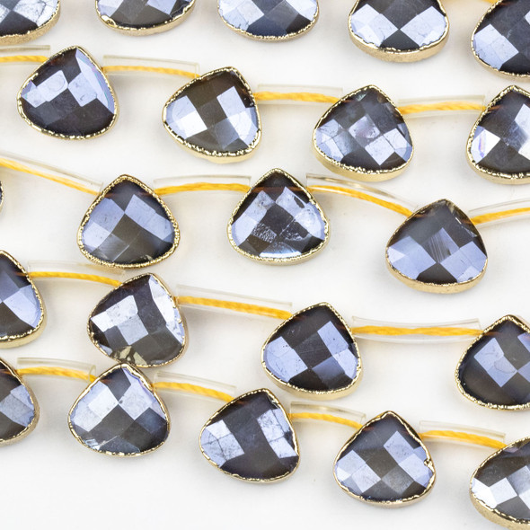 Crystal 12x13mm Opaque Grey Faceted Top Drilled Teardrop Beads with Golden Foil Edges - 7 inch strand