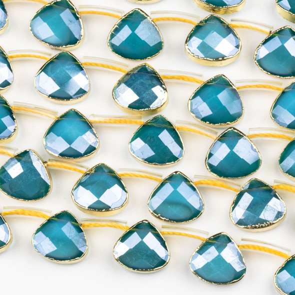 Crystal 12x13mm Opaque Blue Faceted Top Drilled Teardrop Beads with Golden Foil Edges - 7 inch strand