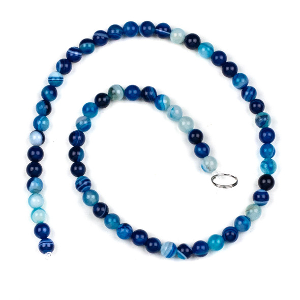 Dyed Agate 6mm Bright Blue Round Beads - 15 inch strand