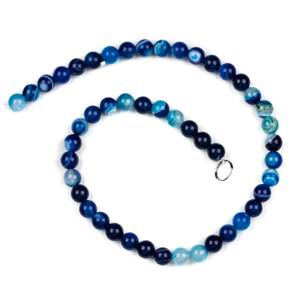 Dyed Agate 8mm Bright Blue Round Beads - 15 inch strand