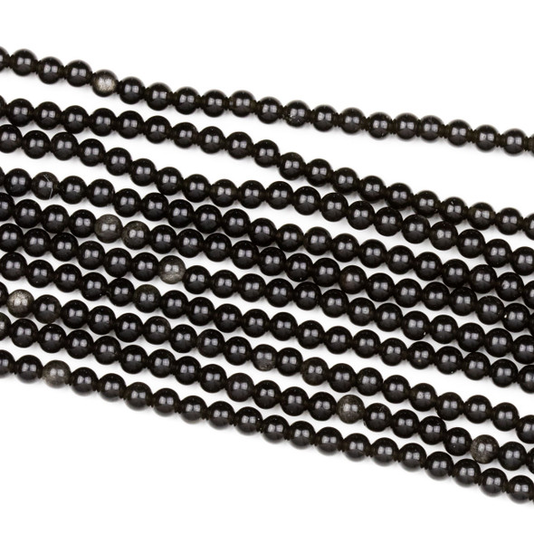 Black Obsidian 4mm Round Beads - 15 inch strand