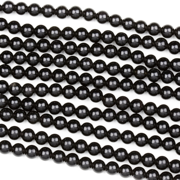 Black Obsidian 6mm Round Beads - 15 inch strand