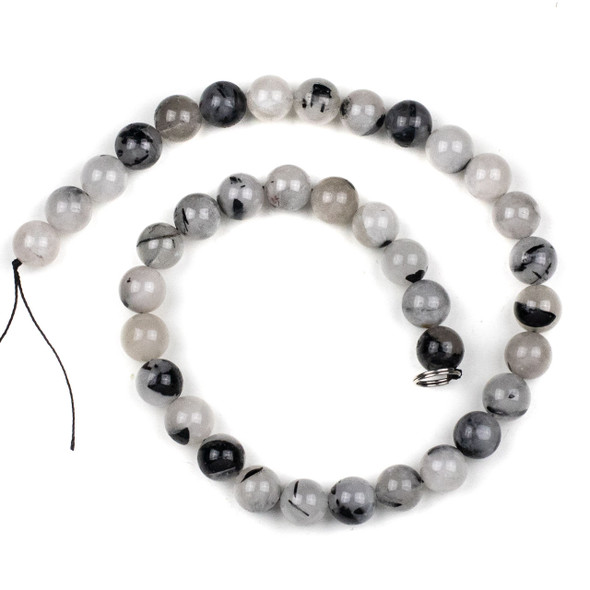 Black Tourmalinated Quartz 10mm Round Beads - 15 inch strand