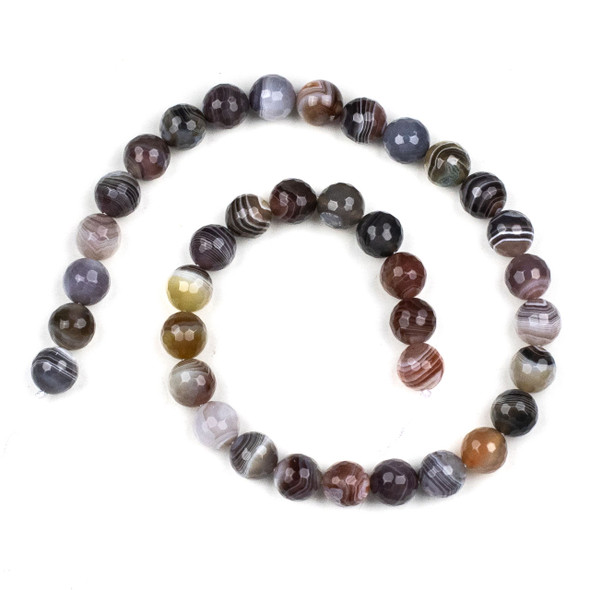 Botswana Agate 10mm Faceted Round Beads - 15 inch strand