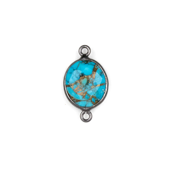 Copper Turquoise approximately 11x20mm Oval Link with a Gun Metal Plated Brass Bezel - 1 per bag
