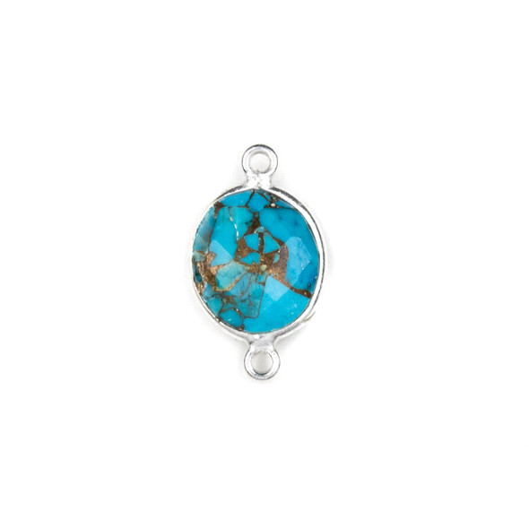 Copper Turquoise approximately 11x20mm Oval Link with a Silver Plated Brass Bezel - 1 per bag