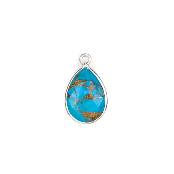 Copper Turquoise approximately 12x18mm Teardrop Drop with a Silver Plated Brass Bezel - 1 per bag