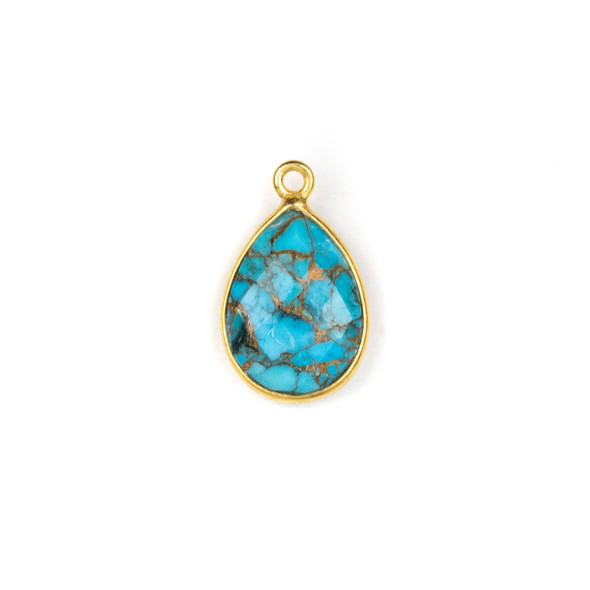 Copper Turquoise approximately 12x18mm Teardrop Drop with a Gold Plated Brass Bezel - 1 per bag