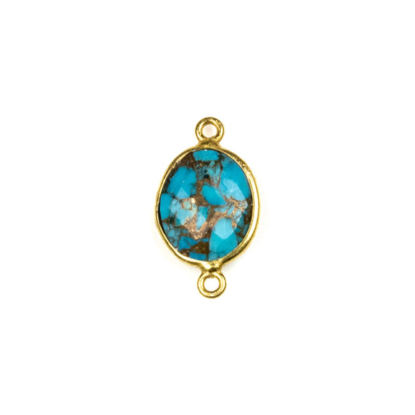 Copper Turquoise approximately 11x20mm Oval Link with a Gold Plated Brass Bezel - 1 per bag