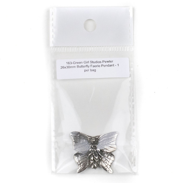Green Girl Studios Pewter 26x30mm Butterfly Faerie Pendant - 1 per bag