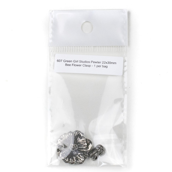 Green Girl Studios Pewter 22x30mm Bee Flower Clasp - 1 per bag