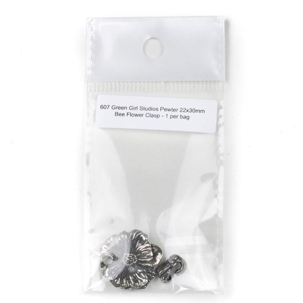 Green Girl Studios Pewter 22x30mm Bee Flower Clasp - 1 per bag