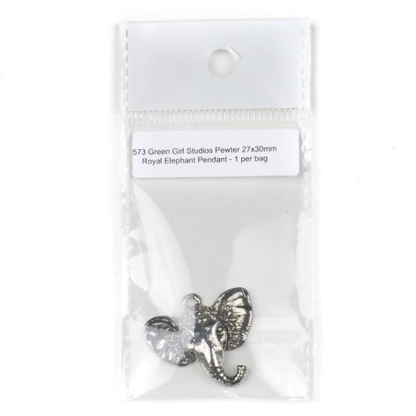 Green Girl Studios Pewter 27x30mm Royal Elephant Pendant - 1 per bag