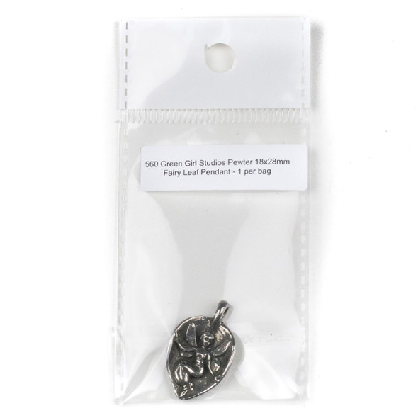 Green Girl Studios Pewter 18x28mm Fairy Leaf Pendant - 1 per bag