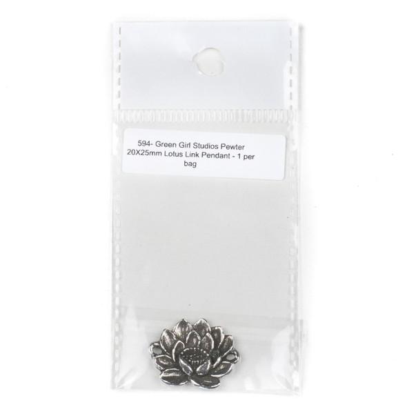 Green Girl Studios Pewter 20X25mm Lotus Link Pendant - 1 per bag