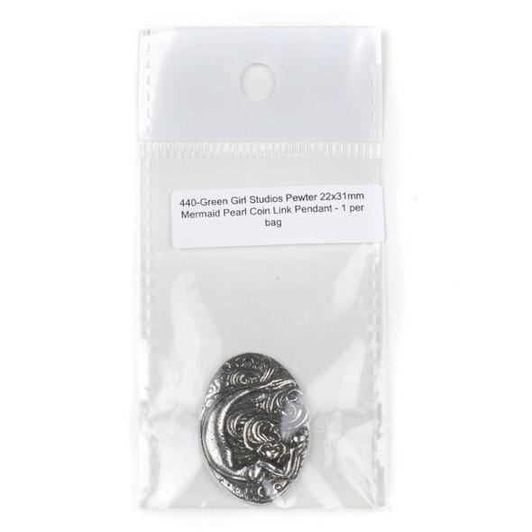 Green Girl Studios Pewter  22x31mm Mermaid Pearl Coin Link Pendant - 1 per bag