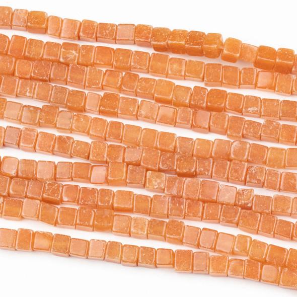 Peach Aventurine 4mm Cube Beads - 16 inch strand