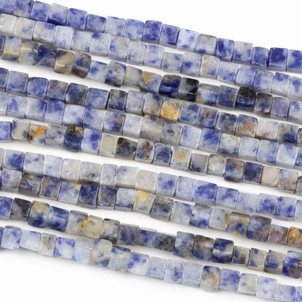 Sodalite 4mm Cube Beads - 16 inch strand