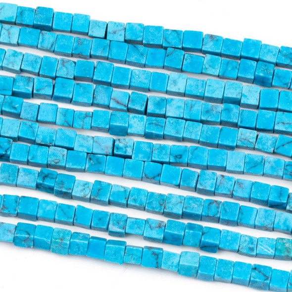 Synthetic Turquoise Howlite 4mm Cube Beads - 16 inch strand