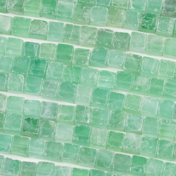 Green Fluorite 6mm Cube Beads - 16 inch strand