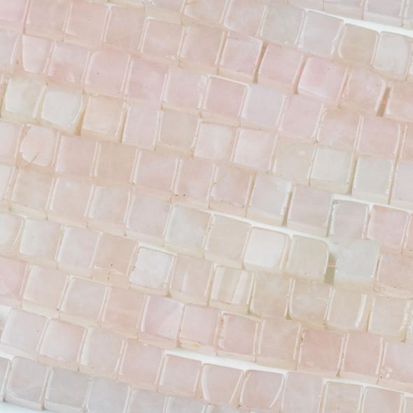 Rose Quartz 6mm Cube Beads - 16 inch strand