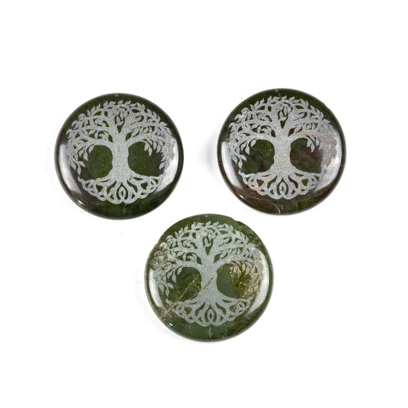 African Green Jasper 30mm Etched Tree of Life Top Drilled Coin Pendant - 1 per bag
