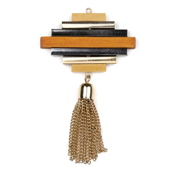"Mosaic Aspen Wood & Gold Colored Pewter 48x50mm Moveable Bar Pendant with 1.5"" Gold Chain Tassel - 1 per bag"