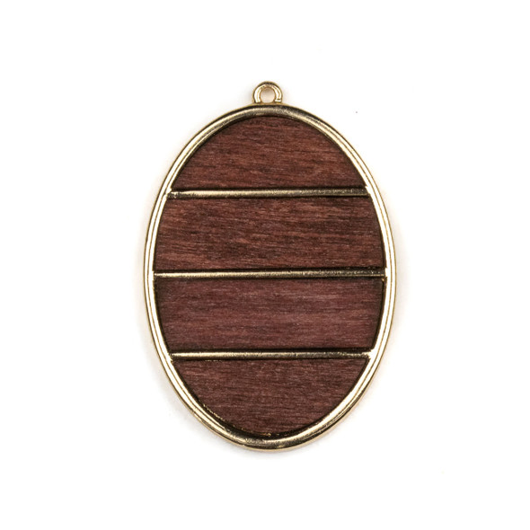 Mosaic Aspen Wood & Gold Colored Pewter 34x50mm Oval Pendant - 1 per bag