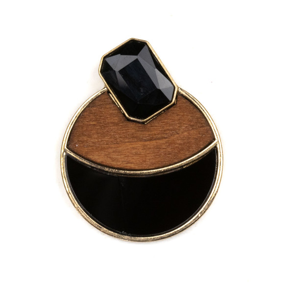 Mosaic Aspen Wood, Black Glass, & Gold Colored Pewter 40x50mm Coin Pendant with Black Crystal Octagon - 1 per bag