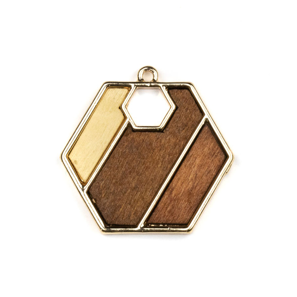 Mosaic Aspen Wood & Gold Colored Pewter 34x35mm Hexagon Geometric Pendant with Cutout Hexagon - 1 per bag