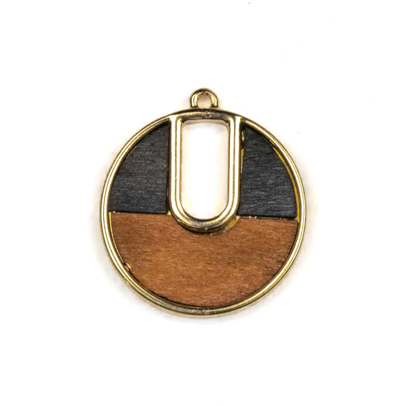 "Mosaic Aspen Wood & Gold Colored Pewter 30x34mm Coin Pendant with ""U"" Shaped Cutout - 1 per bag"