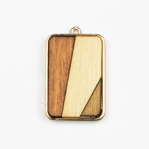 Mosaic Aspen Wood & Gold Colored Pewter 24x38mm Rectangle Pendant - 1 per bag