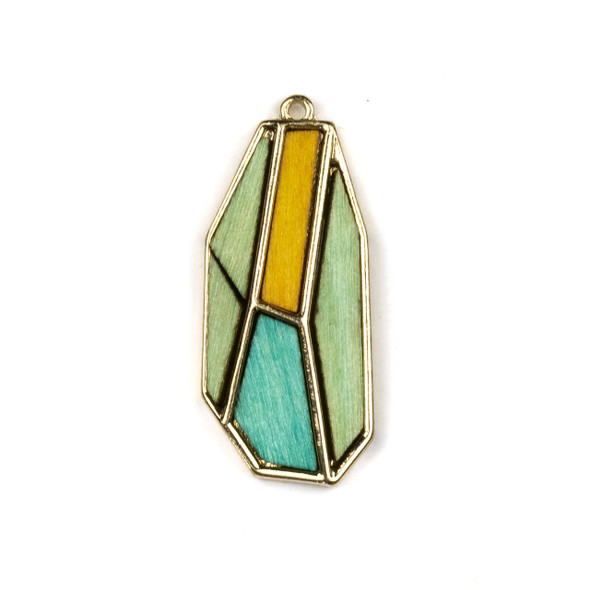 Mosaic Aspen Wood & Gold Colored Pewter 18x40mm Irregular Hexagon Pendant - 1 per bag