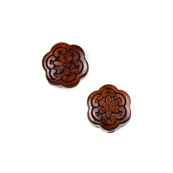 Carved Wood Focal Bead - 17mm Sandalwood Flower #2, 1 per bag