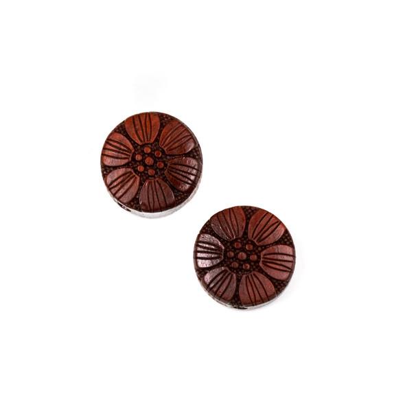 Carved Wood Focal Bead - 16mm Sandalwood Flower #3, 1 per bag